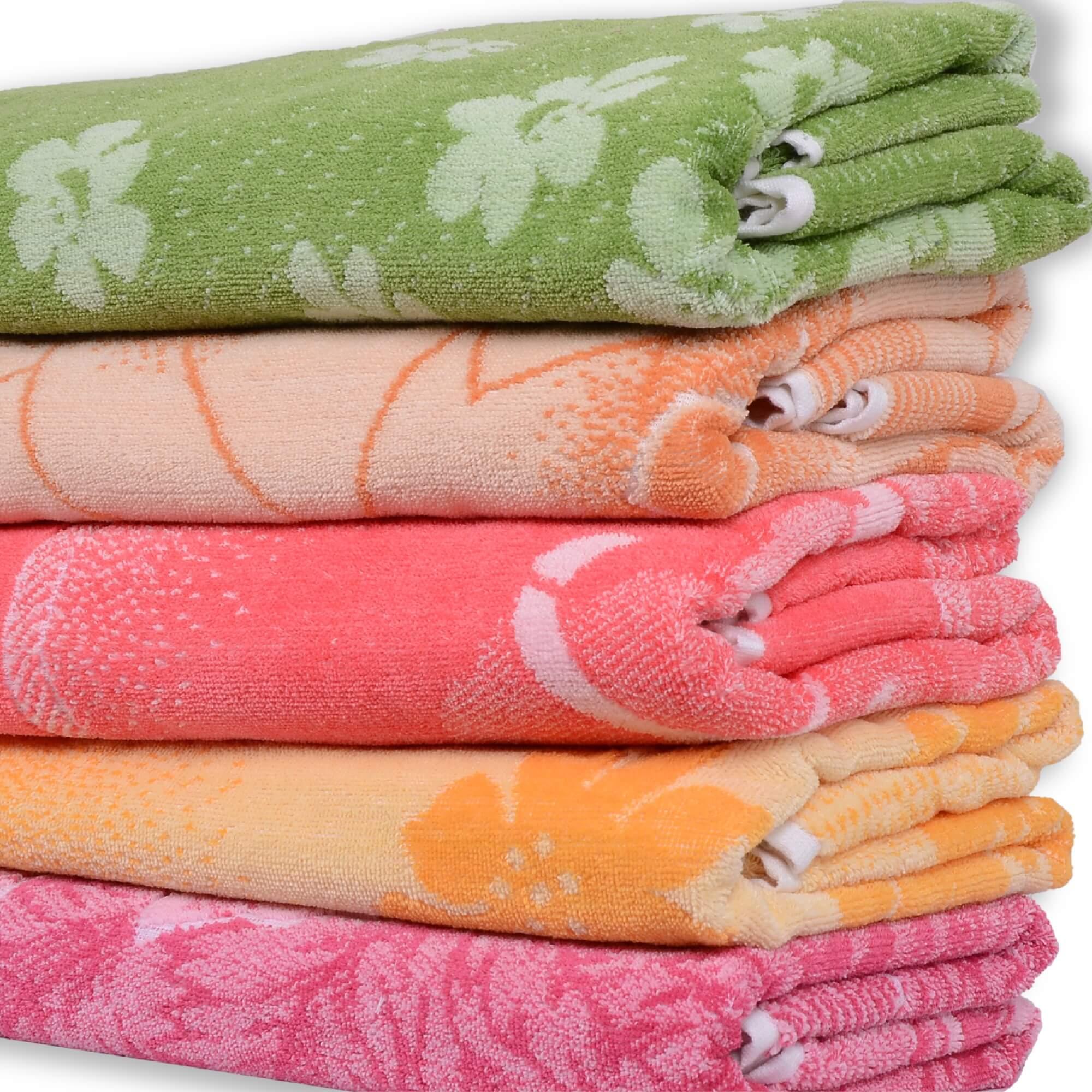 Tricolour Flower Terry Towels